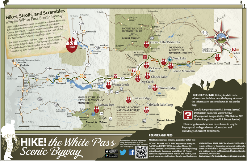 White Pass Byway Hiking Tearsheet Map