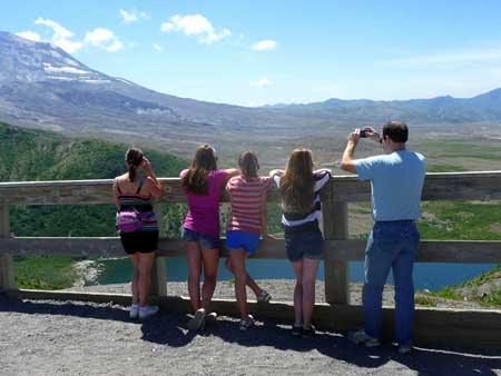 Windy Ridge - Visitors enjoy the view of Mount St Helens at Windy Ridge
